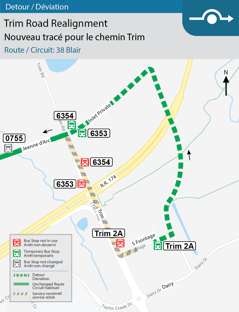 Map for Route 38 Blair, Trim Road Realignment and Trim Station Adjustments detour