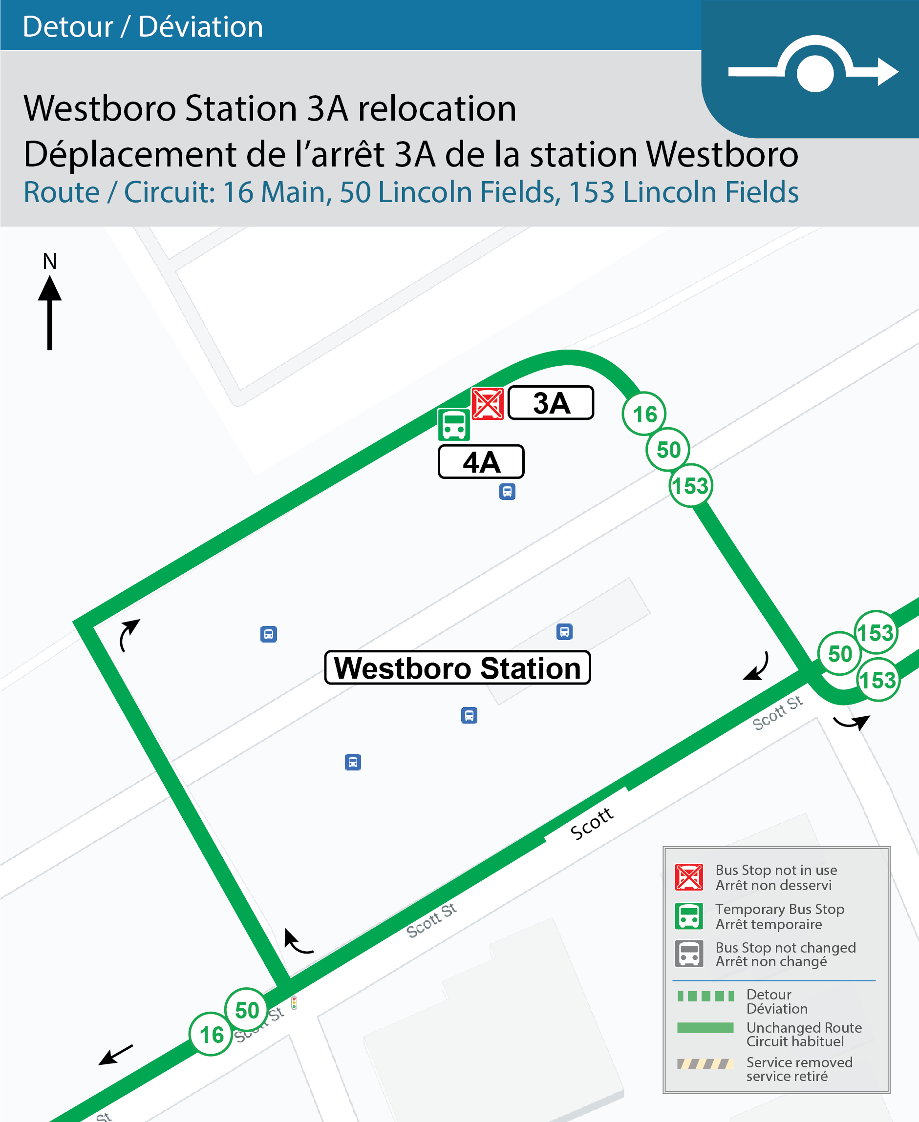 Map for Westboro Station 3A relocation to 4A.