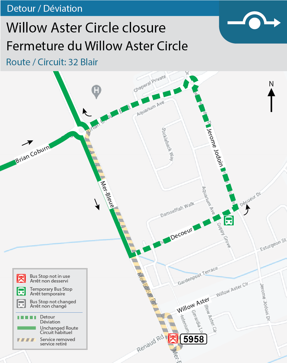 Map for Routes 32 Blair, Willow Aster Circle detour for construction