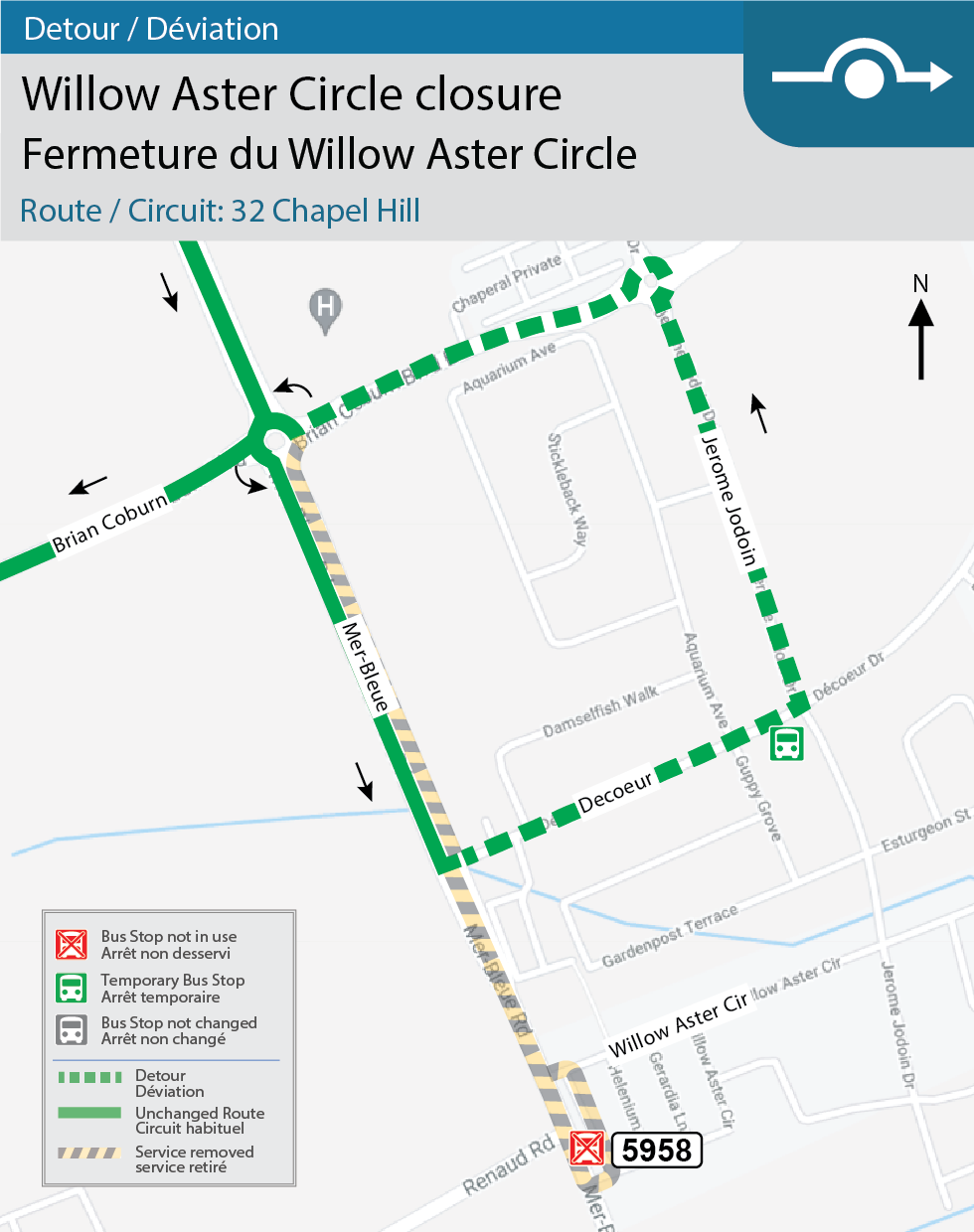 Map for Routes 32 Chapel Hill, Willow Aster Circle detour for construction