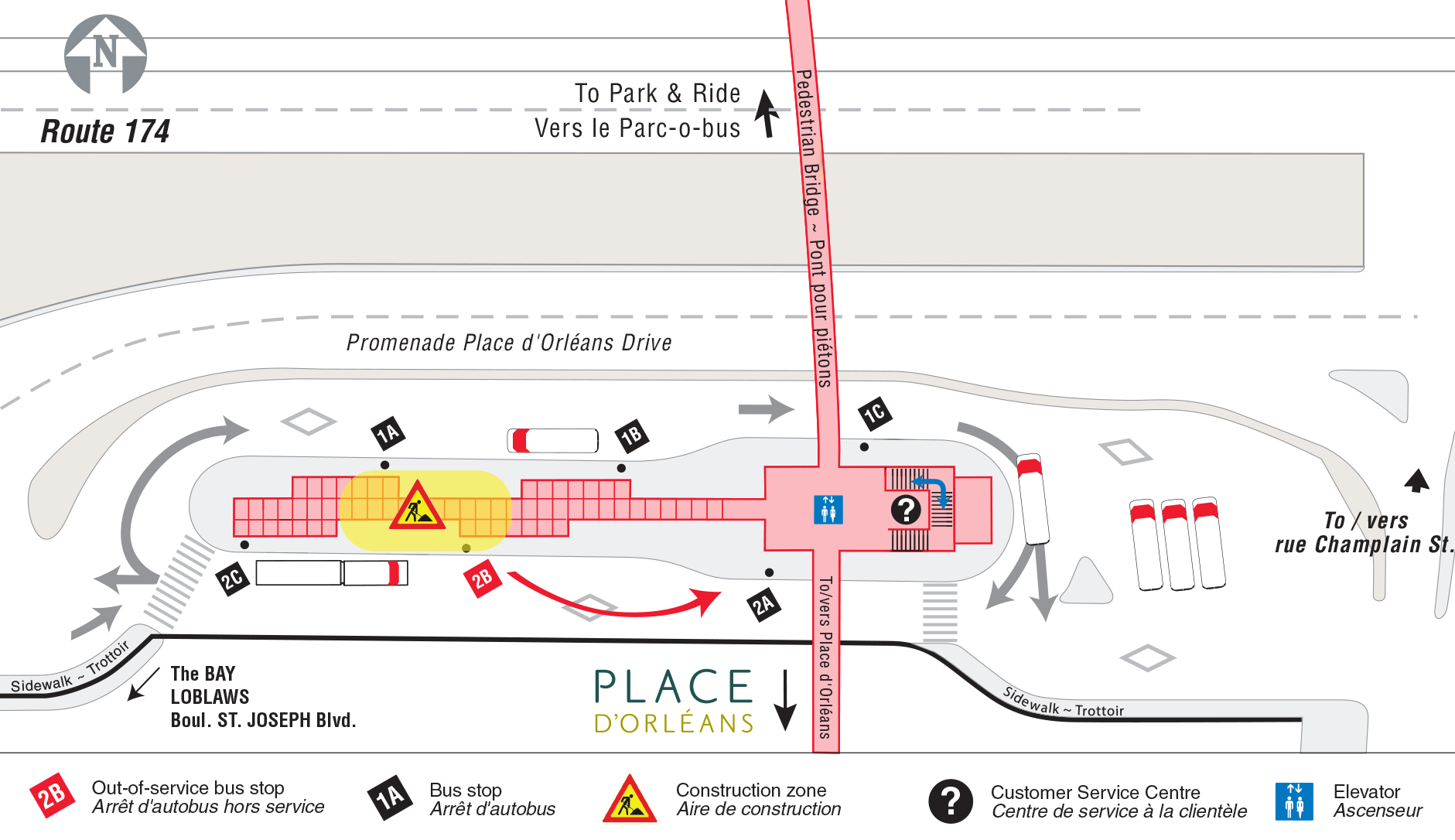 Map of Place d'Orléans station during construction