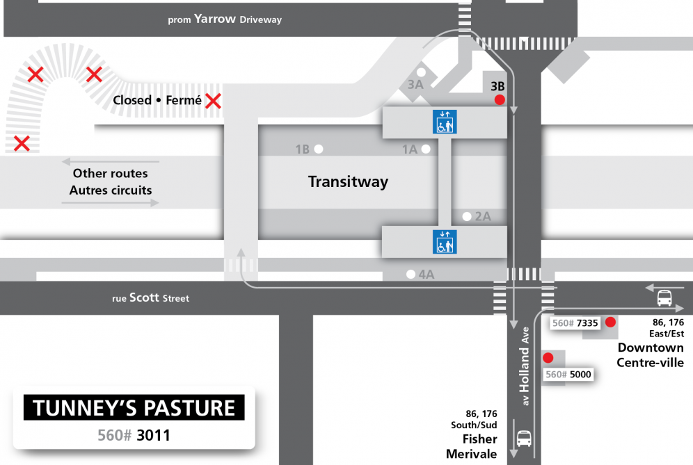 Tunney's Pasture Station layout during ramp closure