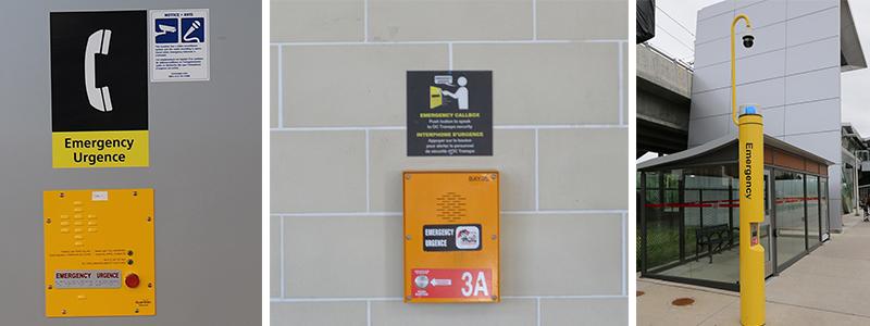 Exemples de boîtes jaunes d'appel d'urgence