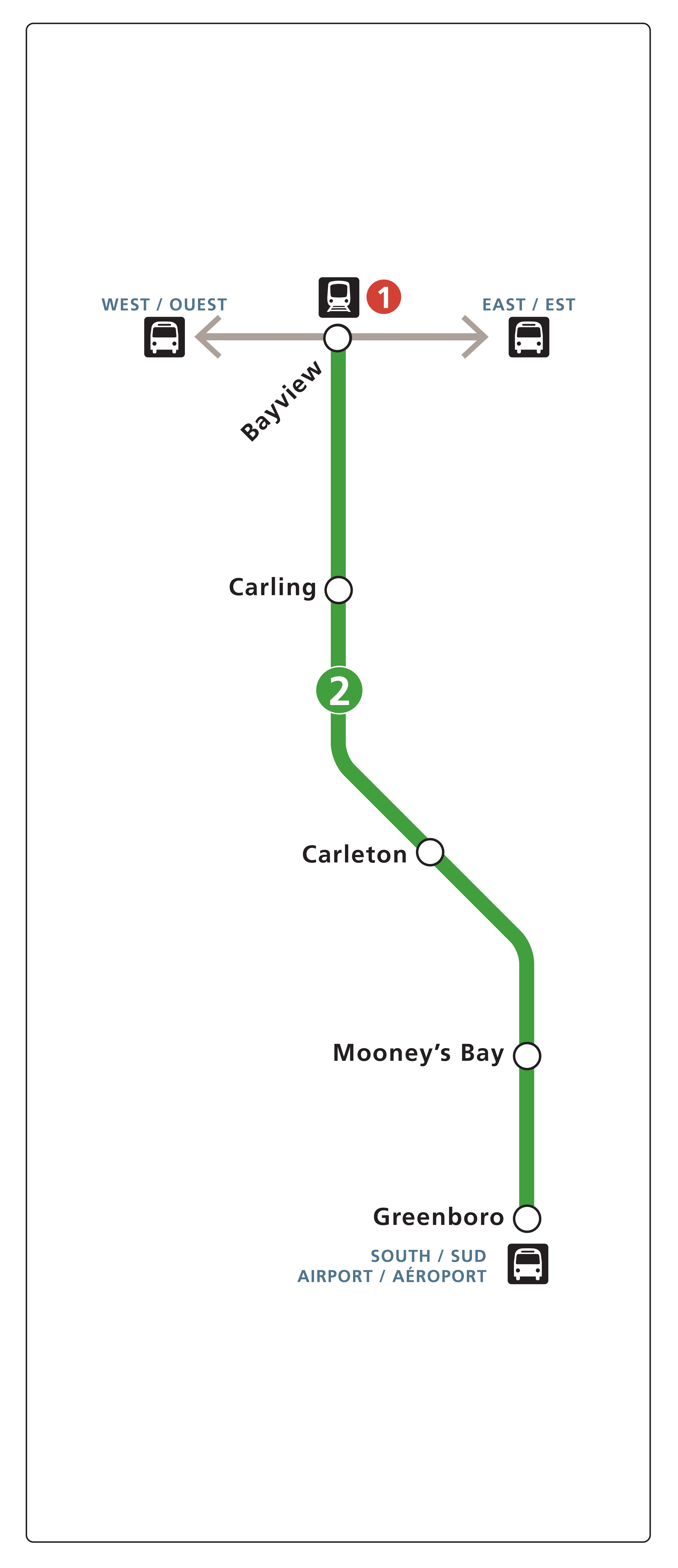 O-Train Line 2 map