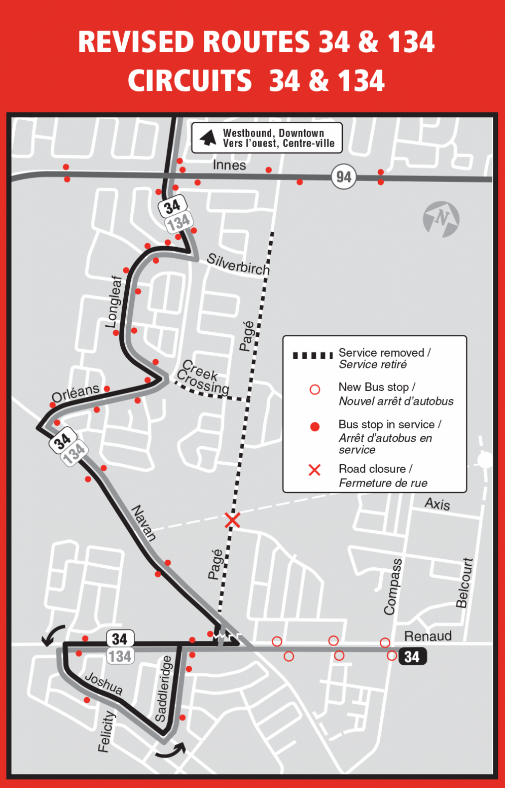 Map of revised Routes 34 and 134 following the closure of Pagé Road on July 18