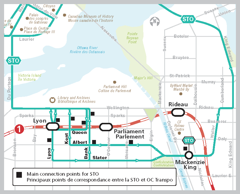 Carte des parcours de la STO et des principaux points de correspondance vers le service d'OC Transpo au centre-ville d'Ottawa.