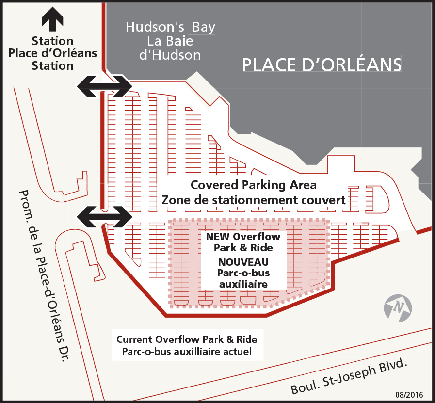 Map showing Place d'Orléans Park & Ride overflow parking location