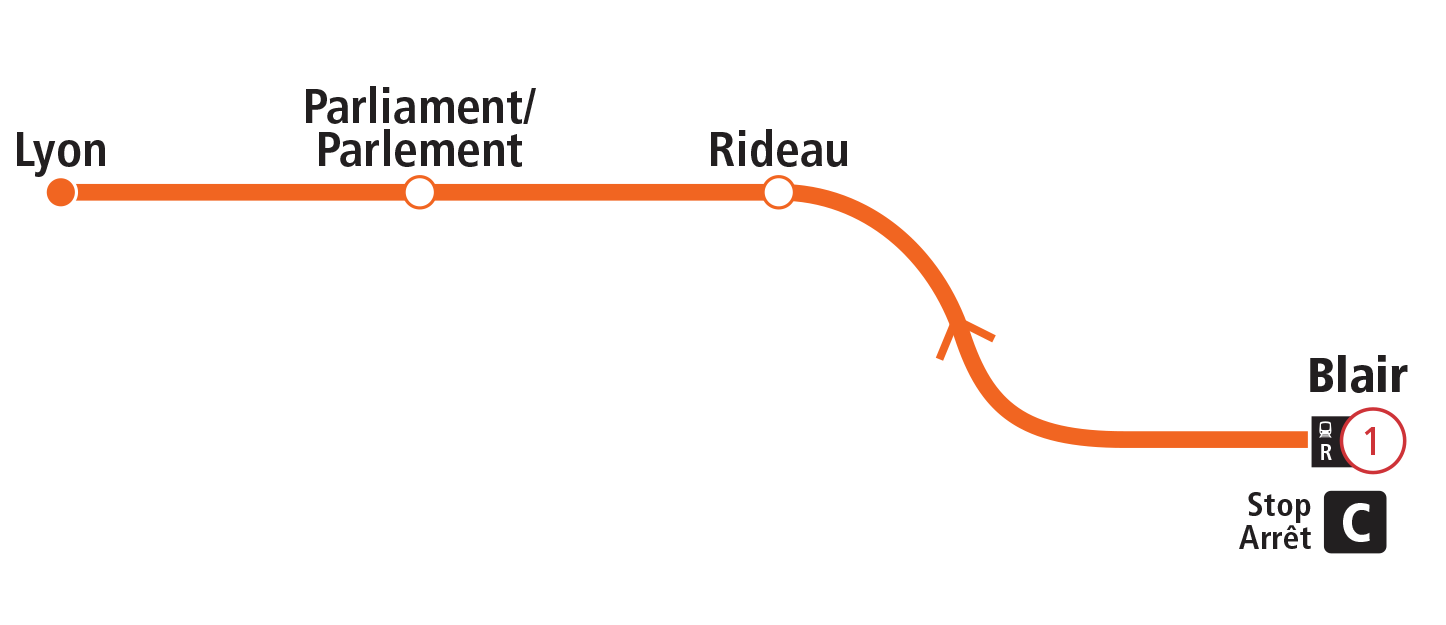 R1 morning express route map.