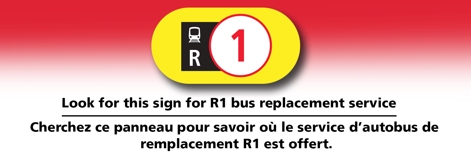 R1 bus replacement service sign