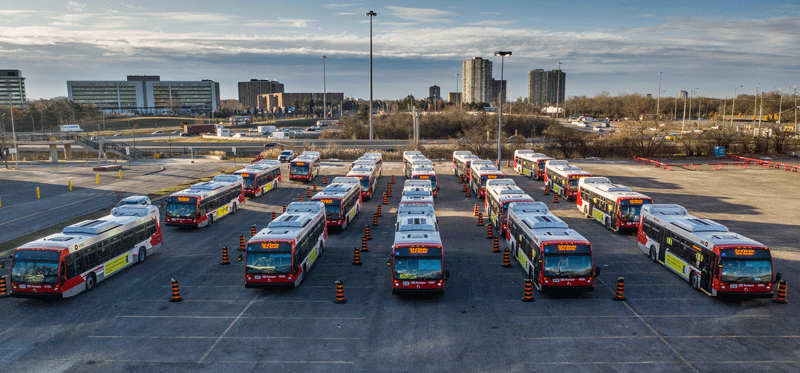 Bird's eye view of the 20 R1 replacement buses