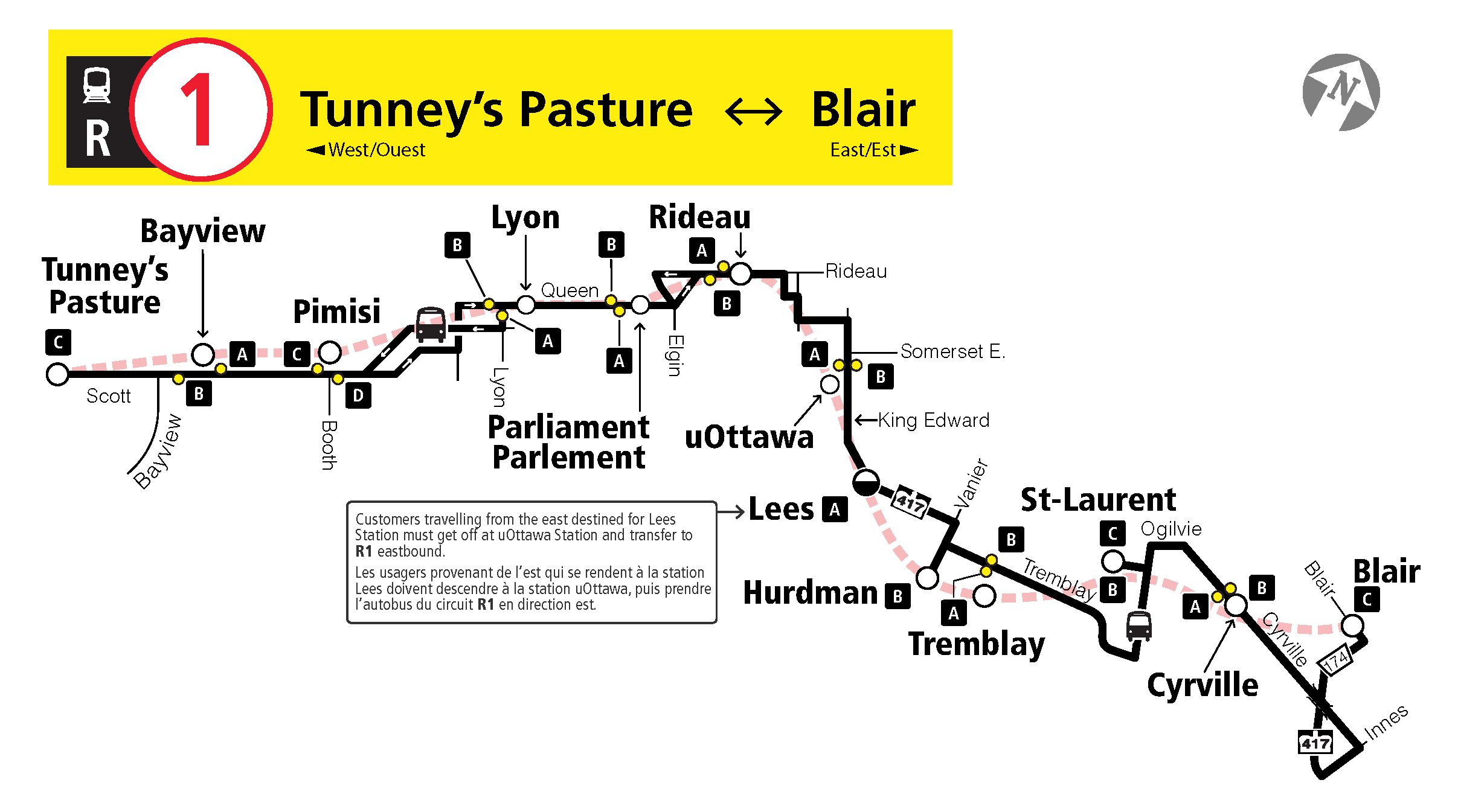 Full R1 replacement bus service map