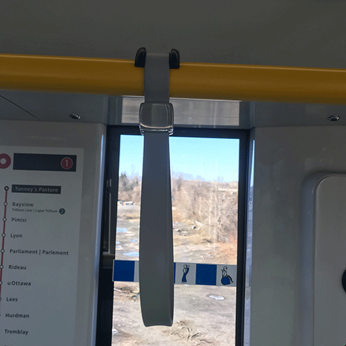 Image of strap hanger installed on a train
