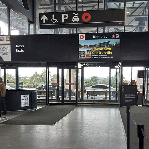 Image of new signage in the VIA Rail Ottawa Train Station