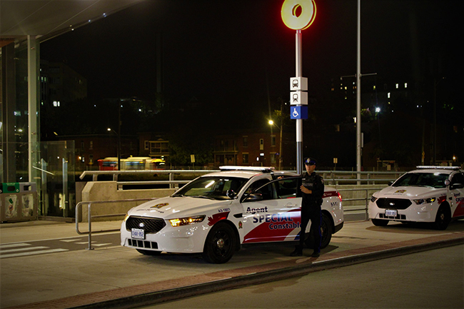Special Constable at O-Train station at night