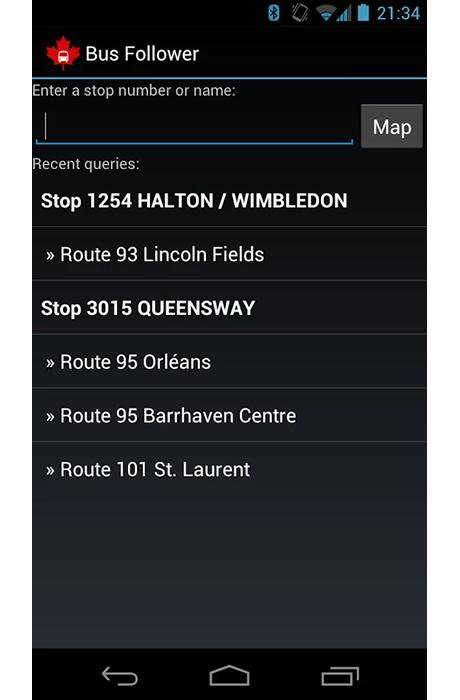 Ottawa Bus Follower - Screenshot 1