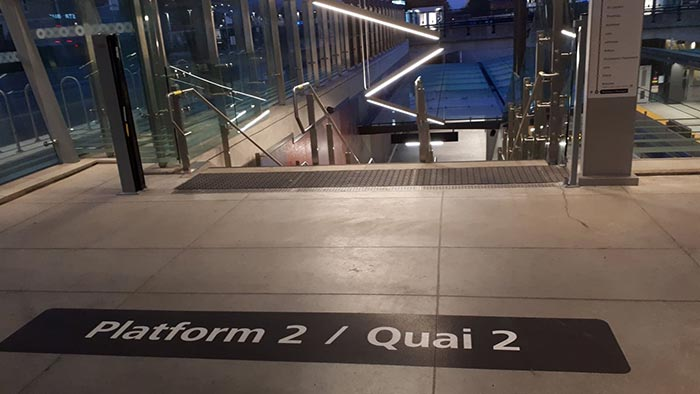 Platform 2 floor decal at Tunney's Pasture Station.