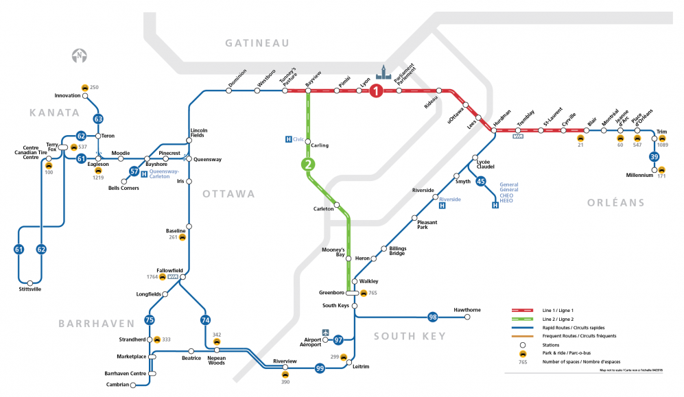 Park & Ride to Confederation Line connections