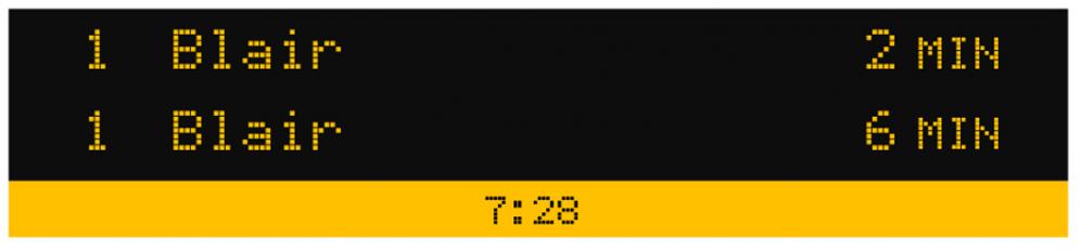 Exemple d'un écran d'affichage des prochains départs