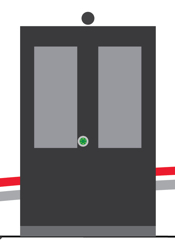 Green light indicating door is ready to open