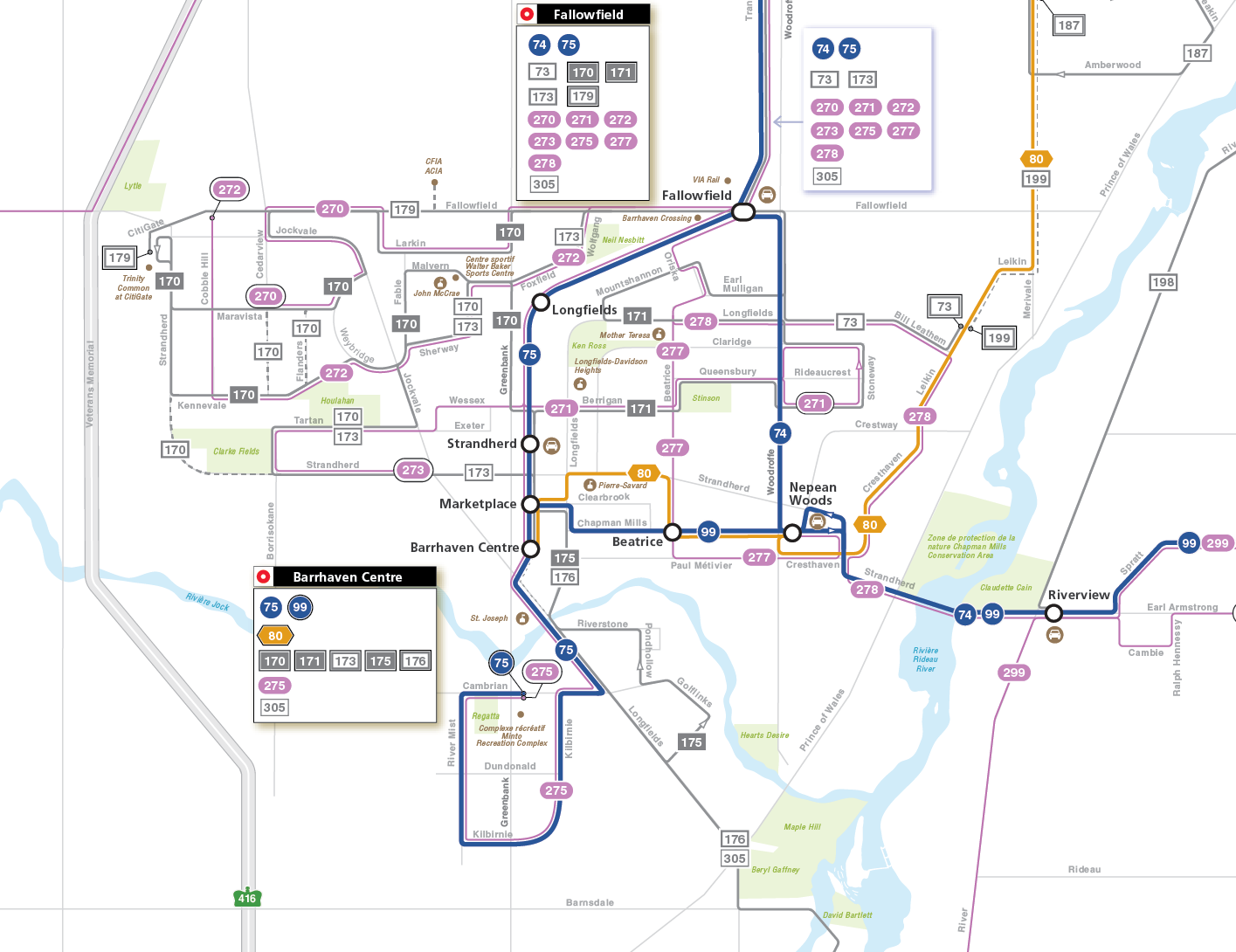 Barrhaven and Riverside South service map