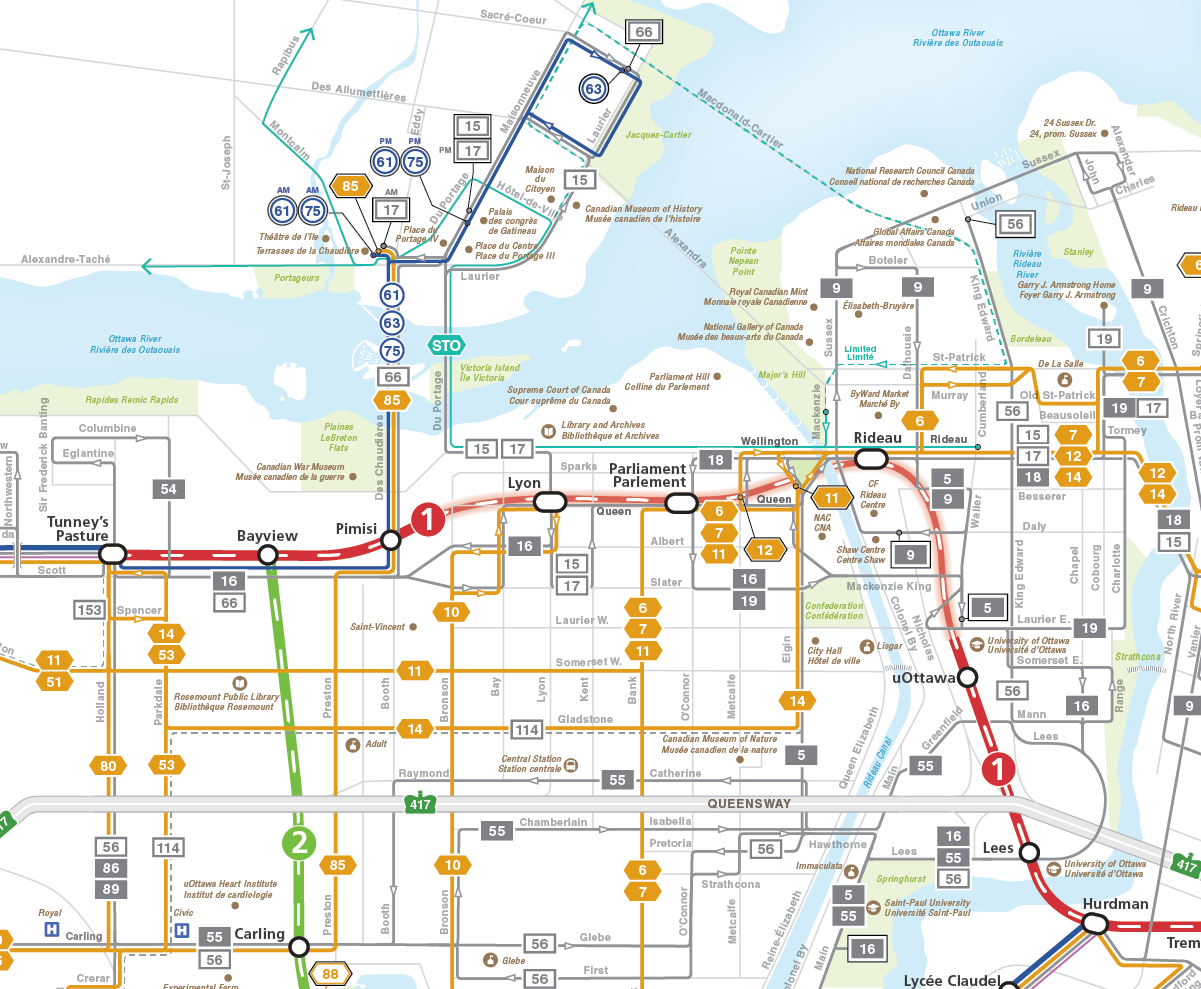 Map of transit routes in downtown Ottawa.