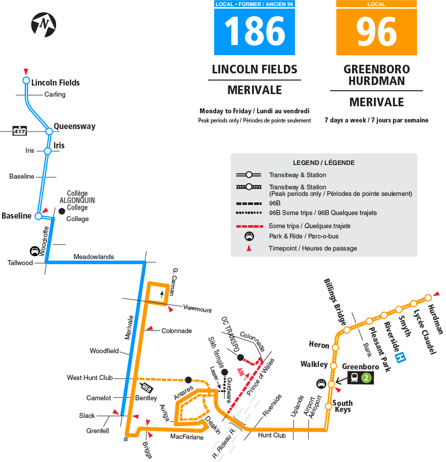 Routes 96 and 186