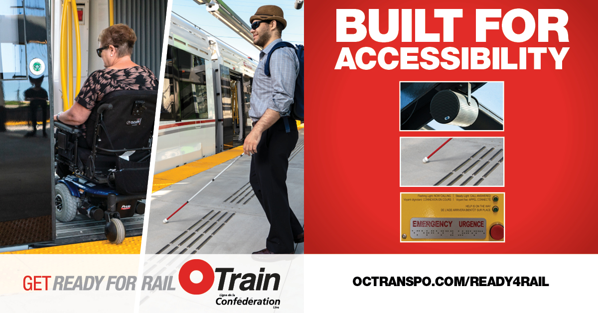 Text: Built for accessibility. Image: Man in a wheelchair boarding the train
