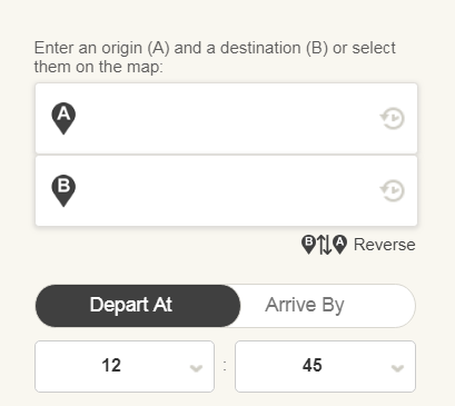 Screen cap of form to enter origin, destination and departure time