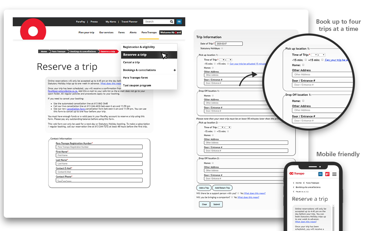 Screen cap showing where to find the Trip Reservation form in the top navigation