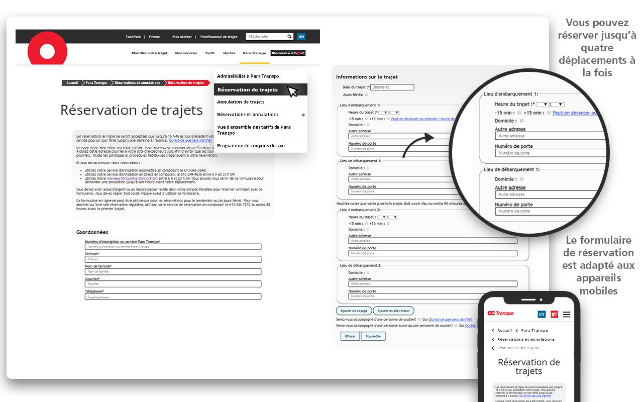 Saisie d'écran montrant où trouver le formulaire de réservations dans la navigation.