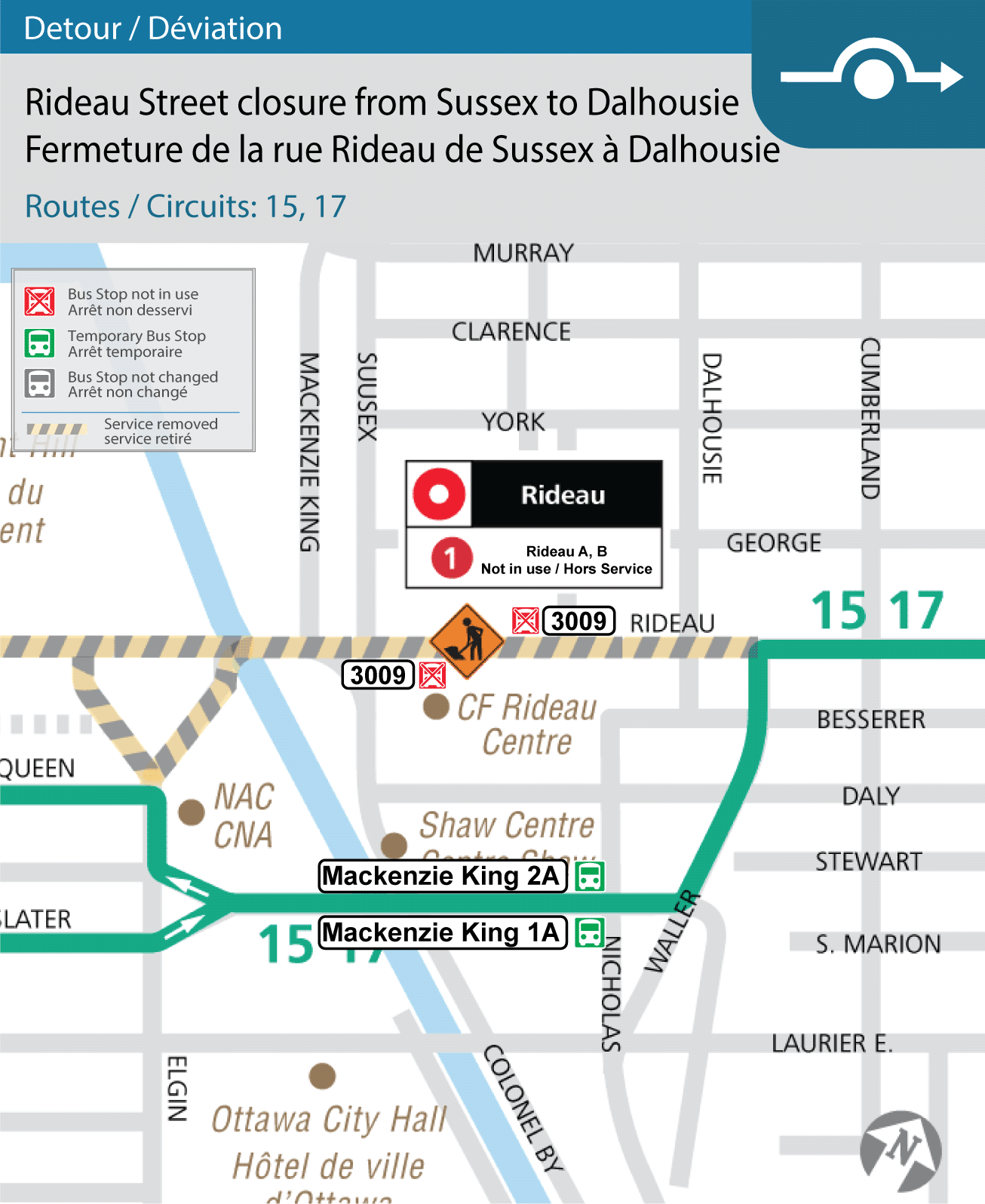 Map of detoured Routes 15 & 17