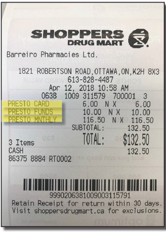 Example of a Shoppers Drug Mart receipt for a Presto monthly pass purchase
