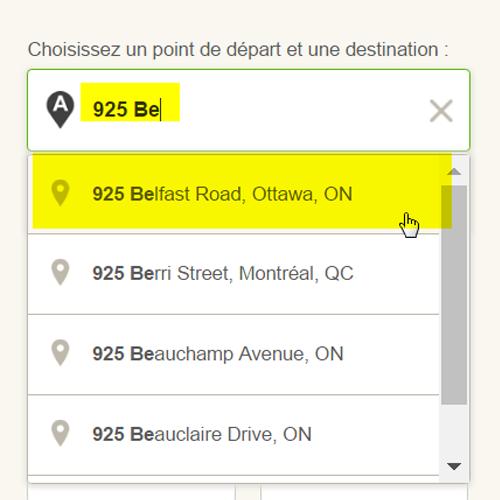 Saisie d'écran: entrer une adresse comme destination ou point de départ du plan de trajet