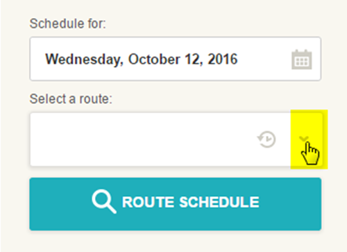 Screen cap: how to expand the route list to lookup a route