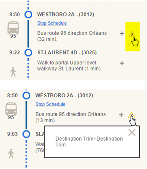 Screen cap: Example of a note in a travel plan