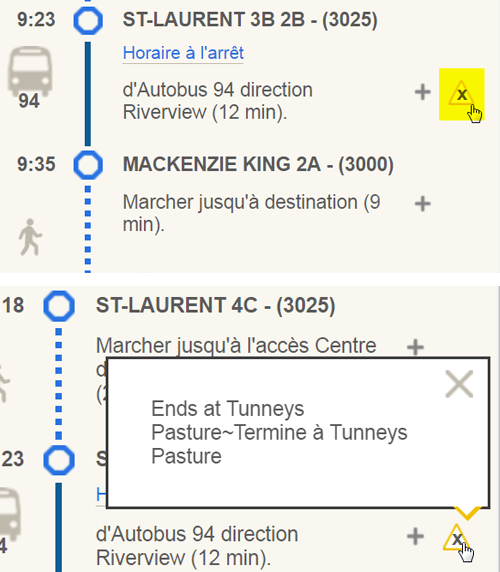 Saisie d'écran : exemple d'une note dans un itinéraire