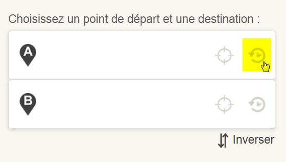 Saisie d'écran: Choisir votre destination ou point de départ du plan de trajet dans votre historique