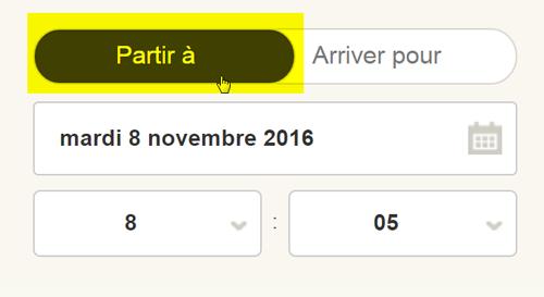 Saisie d'écran : Comment choisir de créer un plan de trajet en fonction d'une heure de départ ou d'arrivée
