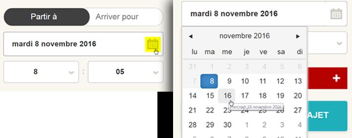 Saisie d'écran: Choisir une date pour son trajet à l'aide du calendrier