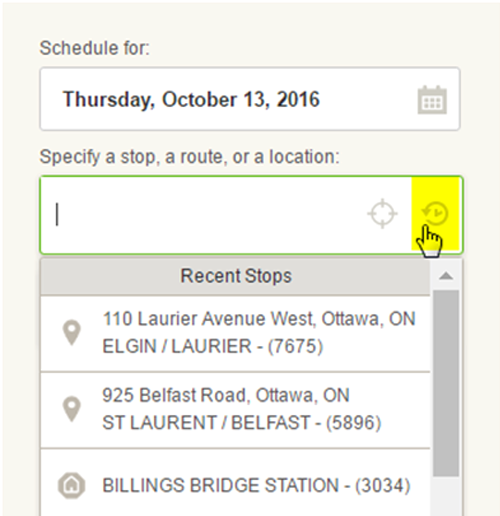 Screen cap: how to lookup a stop near an address you have entered