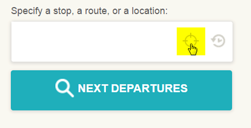 Screen cap: using your GPS location to lookup nearby stops for next departures