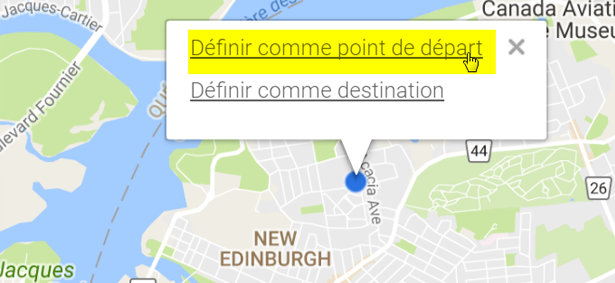 Example of how to choose your destination or origin on the map