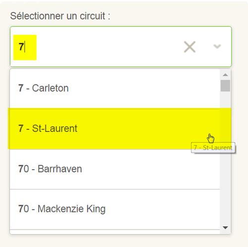 Saisie d'écran: Choisir son circuit pour un horaire de circuit