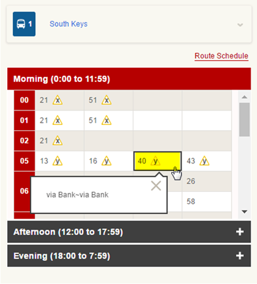 Screen cap: Example of a stop schedule note