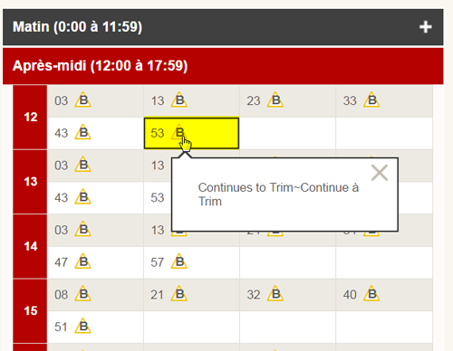 Saisie d'écran : exemple d'une note (avis) de service dans un horaire