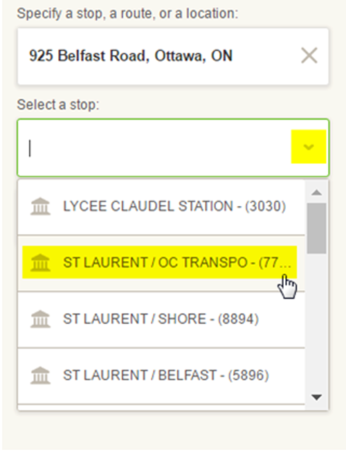 Screen cap: entering an address to lookup nearby stops for next departures