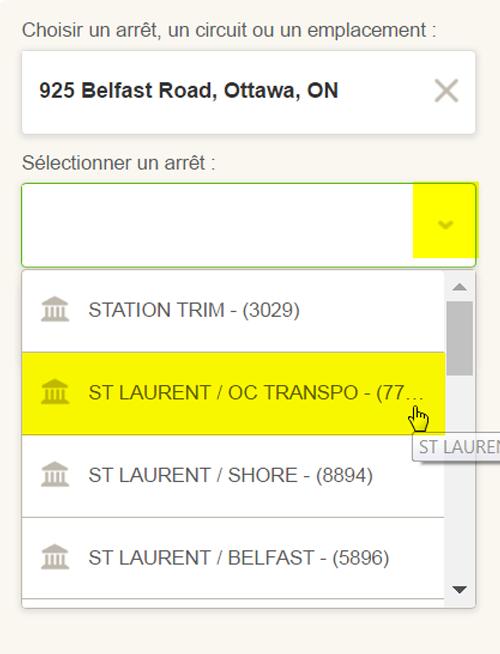 Saisie d'écran : Comment sélectionner un arrêt à proximité d'une adresse entrée