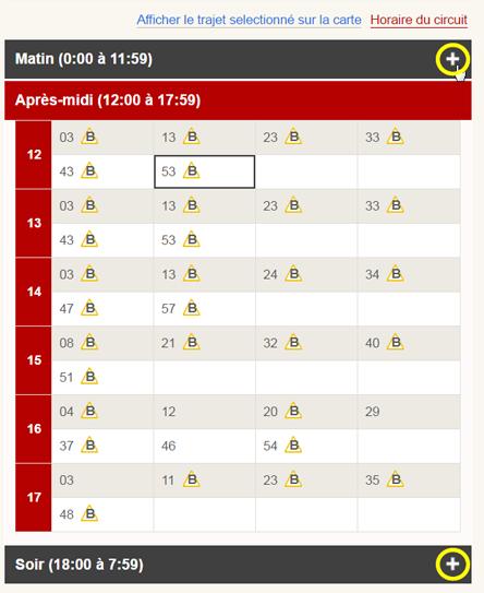 Saisie d'écran : Comment afficher l'horaire d'un circuit à un arrêt pour une période de la journée