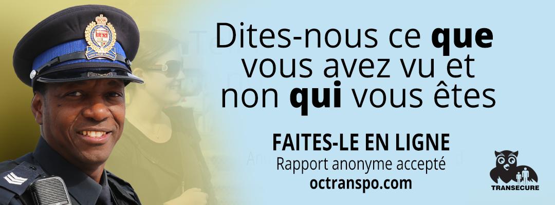 Exemple d'une affiche de la campagne. Texte sur l'image : Sentiment d'insécurité? Alertez OC Transpo