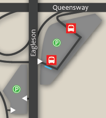 The eagleson park and ride is located at Eagleson and the Queensway. There are two lots on either side of Eagleson. ~ Le parc-o-bus Eagleson est situé à l'angle du chemin Eagleson et du Queensway. Il y a des places de stationnement de part et d'autre du chemin Eagleson.